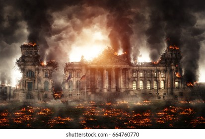 Destroyed Berlin Reichstag building burning with black smoke and flames all around the street. Apocalyptic view of disaster, movie poster concept