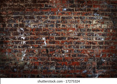 destroyed brick wall