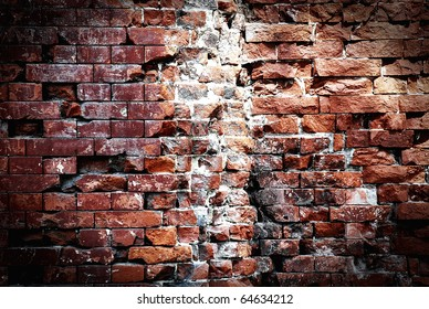 Destroyed brick wall, red texture, background