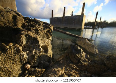 Destroyed bridge on Deserted island