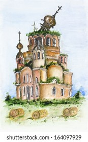Destroyed broken Russian church landscape.  Time does not spare even the holy concept. Watercolor handmade art painting.