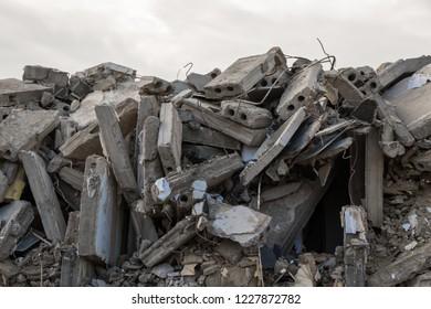 destroyed building - debris  from destroyed building