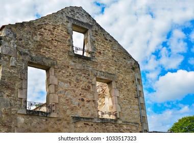 Destroyed building during World War 2 in Oradour sur Glane France