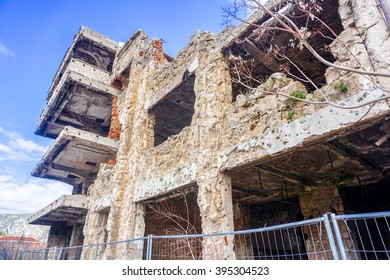 Destroyed Building on The front line in Mostar, Bosnia