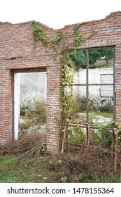destroyed building,abandoned house with broken windows