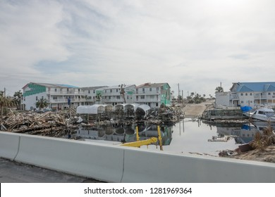 Destroyed buildings and marina in the back ground in the aftermath of hurricane Michael in Mexico Beach Florida