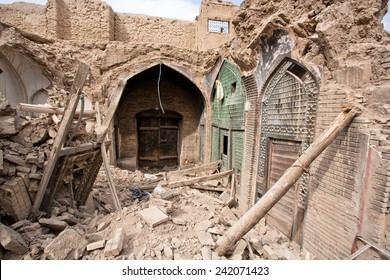 Destroyed buildings and shops of the old Persian bazaar in Isfahan, Iran. Bazaar of Isfahan is one of oldest and largest bazaars in Middle East, dating back to 17th century