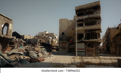 destroyed buildings in the war zone in the city of hims after battle, Syria