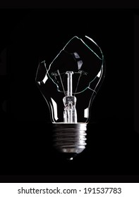 a destroyed bulb on a black background