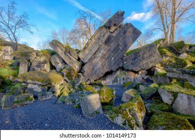"""The destroyed so called """"Hindenburg Bridge"""" in Ruedesheim/Germany"""