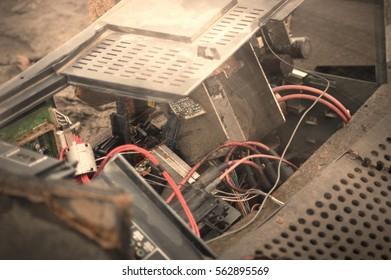 Destroyed Computer Falling Apart
