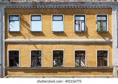 destroyed facade of old building in Russia