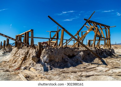 Destroyed house along beach in Southern California.