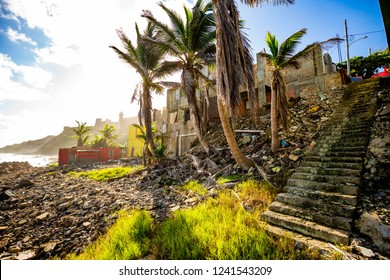 Destroyed houses from hurricane Maria in Puerto Rico