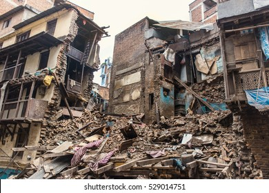 destroyed houses in kathmandu after the earthquake, april 2015