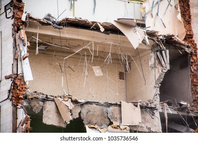 Destroyed industrial building. Floor Fragment. Demolition of buildings in urban environments