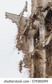Destroyed industrial building. Fragment