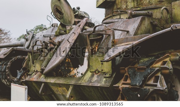Destroyed Military Equipment After War Caterpillar Stock