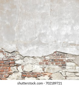 destroyed plaster wall or cement brick wall texture grunge background