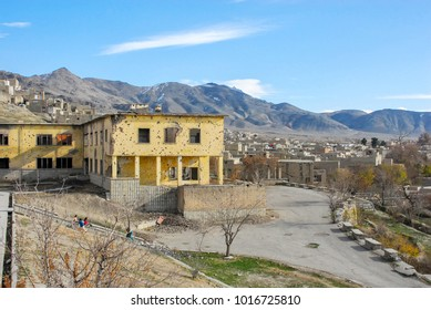 Destroyed residential building on the hillside in kabul afghanistan