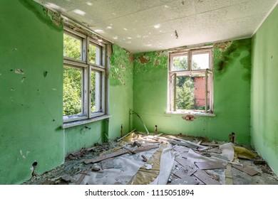 Destroyed room inside the building
