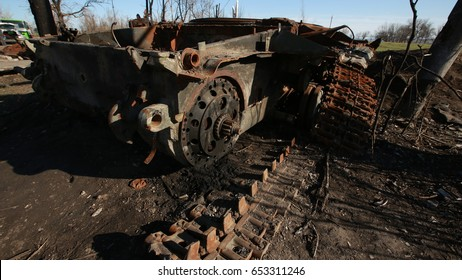 A destroyed tank in the war in the Donbas.