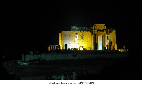 Destroyed temple of Baal in Palmyra at night , Syria. Eliminated by ISIS now.