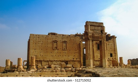 Destroyed temple of Baal in Palmyra, Syria. Eliminated by ISIS now.