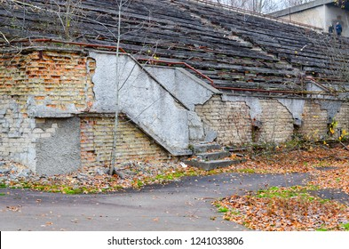 Destroyed tribunes of Avangard stadium in dead abandoned ghost town of Pripyat, Chernobyl NPP exclusion zone, Ukraine