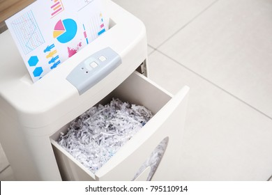 Destroying document with shredder in office