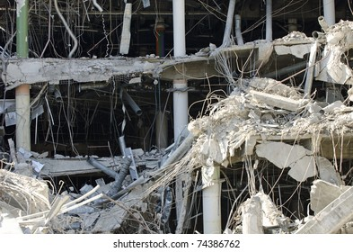 destruction of a city building