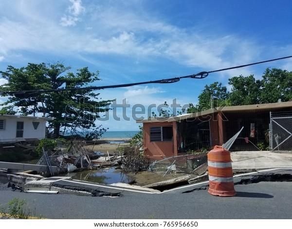 destruction and damaged buildings from hurricane Maria in Puerto Rico