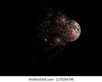 destruction, explosion of the moon