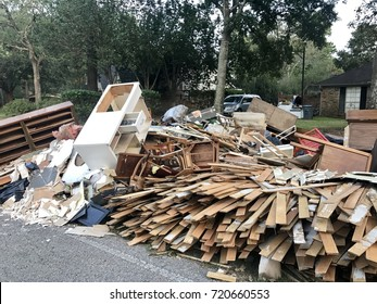 Destruction from Hurricane Harvey. Clean up of flooded homes in Spring, Texas. Greater Houston area.