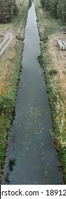 Destruction of nature through a straight drainage ditch with poor ecological quality