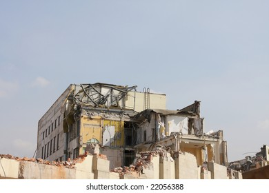 Destruction of office building in St.-Petersburg. Clearing of a platform for construction of new office of Gazprom.