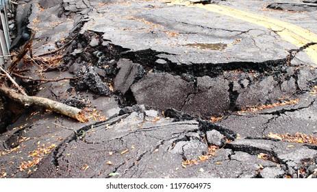 Destruction Of Road Falling Apart