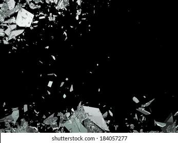 Destruction Shattered or demolished glass on black