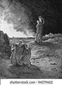 Destruction of Sodomand and Gomorrah. 1) Le Sainte Bible: Traduction nouvelle selon la Vulgate par Mm. J.-J. Bourasse et P. Janvier. Tours: Alfred Mame et Fils. 2) 1866 3) France 4) Gustave Doré