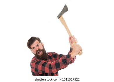 Destructive energy. Brutal lumberjack. Cutting wood. Sharp blade. Danger concept. Brutality and masculinity. Bearded lumberjack. Lumberjack style. Man with axe. Bearded man hold axe isolated on white.