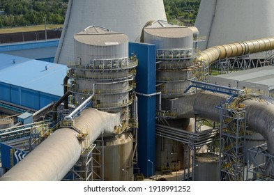Desulphurisation unit absorber at a coal-fired power plant, which is used to clean flue gases. - Shutterstock ID 1918991252