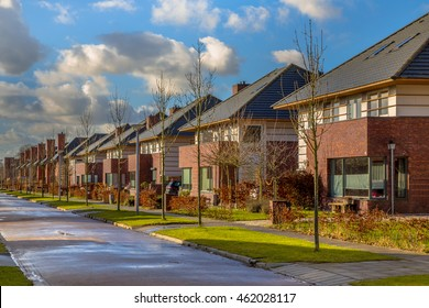 Detached dutch family houses with gardens along a quiet winter street with hedges and trees, Groningen, Netherlands