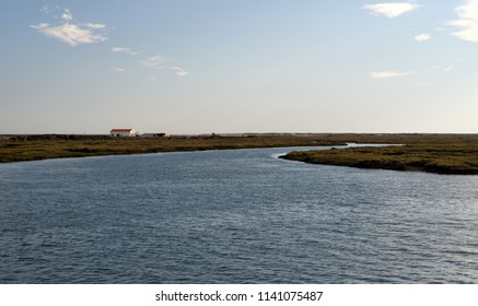 Detached house on one of small islands in Faro lagoon, Portugal