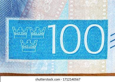 Detail of 100 Swedish krona banknote.