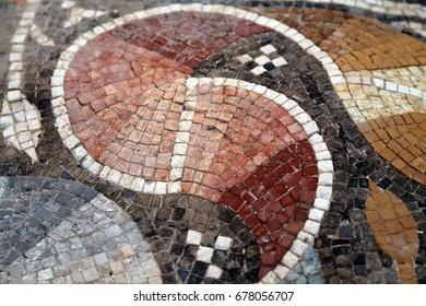 A detail from 1,300 years old 7 million piece mosaic at Hisham's Palace in Jericho, Palestine. The mosaic is considered the largest of its kind in the world.
