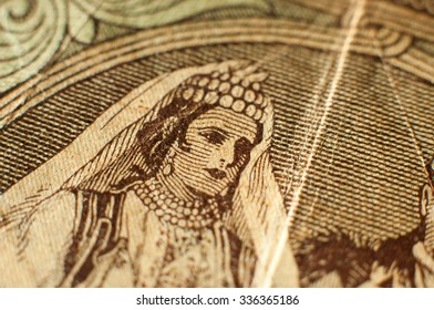 Detail from 5000 Kuna Croatian bank note from Independent State of Croatia (NDH Nezavisna Drzava Hrvatska).