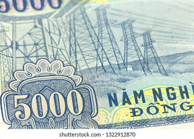 detail of a 5000 vietnamese dong bank note reverse