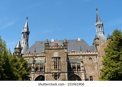 Detail of Aachen Town Hall, in gothic style. This building was built by citizens on the ruins of Charlemagne's Palace in the 14th Century in Aachen, North Rhine-Westphalia, Germany.