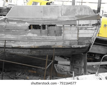 Detail of an Abandoned Fishing Boat on a Portuguese Shipyard