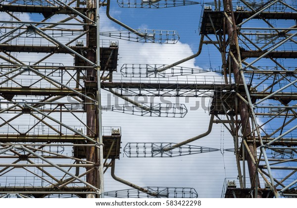 Detail of the abandoned Soviet Union Duga radar facility near in the Chernobyl Exclusion zone.